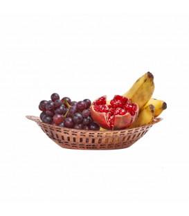 Miedziany Kosz na Pieczywo lub Owoce Grawerowany w Indiach dł. 23 cm x szer.16 cm [SE 121]