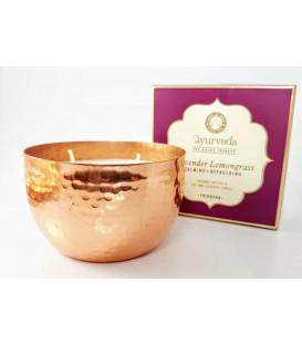Luksusowa Świeca Veda Miedziana -  Harmonia - Lawenda & Trawa Cytrynowa (Tridosha) - 200 g Song of India