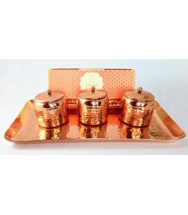 Luksusowy Zestaw Miedziany Ayurveda Dosha Therapy - 3 Świece na Tacy