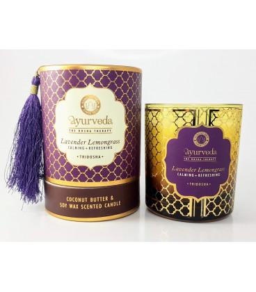 Luksusowa Świeca w brązowym orientalnym szkle - Harmonia - Lawenda & Trawa Cytrynowa (Tridosha) - 200 g Song of India