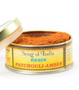 Kadzidło naturalne Patchouli-Amber - żywica sproszkowana, Duża paczka 1kg, Song of India
