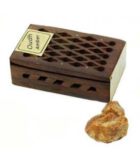 Żywica Zapachowa Oudh i Ambra w szkatułce z drewna różanego 5g Song of India