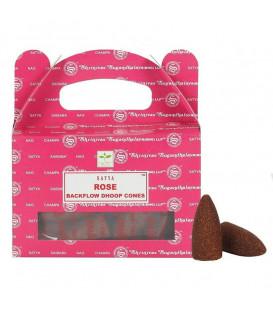 Kadzidła ROSE zapach róży backflow 24 stożki 75 g Satya