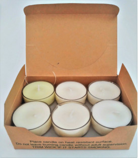 Perfumed Tea Light Candle Refills in Khaki Box (Set of 12) - Assorted