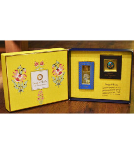 Yellow Luxurious Veda Gift Box with 4 g. Solid Perfume, 10 ml. Ittar & Message Card